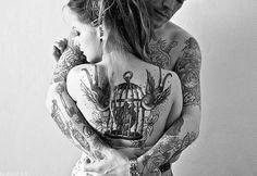 traditional tattoos, heart, bodi art, birdcages, back tattoos, couple tattoos, birds, sparrow, ink