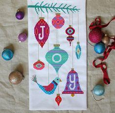 Joy  modern Christmas cross stitch embroidery by SatsumaStreet, $6.00