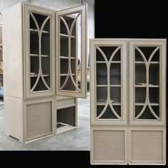 """Beautiful """"C"""" grid mullion doors atop appliance garages - clever design! Fairfax door in maple w/Sand paint, custom glaze and spatter."""