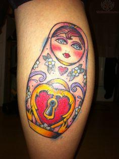 Matryoshka heart padlock tattoo