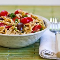Whole Wheat Orzo Salad with Tomatoes, Kalamata Olives, Feta, and Herb Vinaigrette is perfect for any kind of a summer get-together, or just make it for an easy Meatless Monday dinner! [from Kalyn's Kitchen] #MeatlessMonday #SummerFood #FreshHerbs