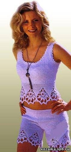 Top and Shorts with lace trim (pattern translated from Russian...)