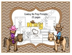 Cowboy No Prep Printable from Preschool Printables on TeachersNotebook.com -  (26 pages)  - COWBOY PRINTABLE  10 color & trace pages 2 pages of tracing words 2 pages of color & match Trace the lines Circle what is different 2 pages of cut-paste-glue Puzzle Scissor practice