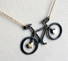Oxidized Sterling Silver Bike Pendant with by RachelPfefferDesigns