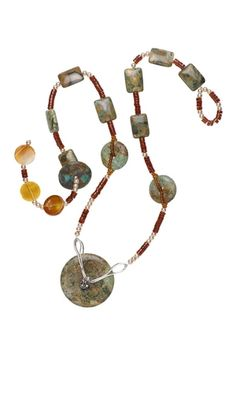 Single-Strand Necklace with Turquoise Donuts and Carnelian Gemstone Beads - Fire Mountain Gems and Beads