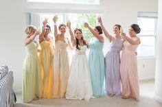 bridesmaid dresses in a pastel rainbow | Karena Dixon
