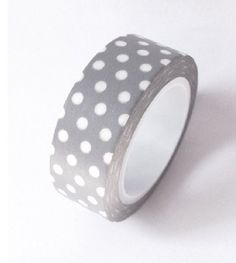 Japanese Washi Masking Tape - White Dot with Grey - 11 Yards. $3.50, via Etsy.    (I really want to try Washi Tape as a nail decal. This might be a terrible idea.)