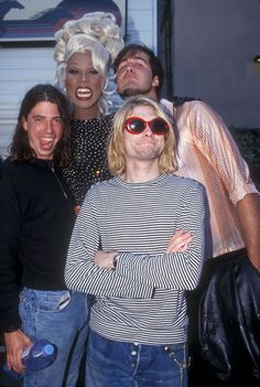 RuPaul and Nirvana    Drag queens frequently have the best cheekbones.     In some pictures, Kurt Cobain does too, but they rarely look very good on him.    Kurt Cobain's grunge look was designed more to hide the fact that he was really skeletal and malnourished than it was to create any brand/band identity.