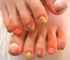 gold glitter, toe nail, earth tones, pedicur, nail art designs, nail arts, peach, nails, gorgeous nail