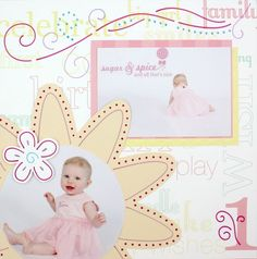 Fabulous Baby Girl Celebrate Addition Doodling Template Scrapbook Layout Idea