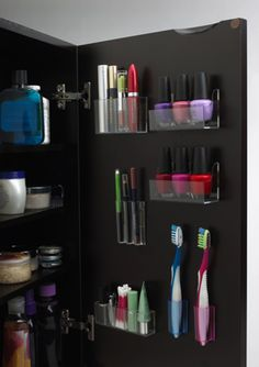 DIY Organization for the bathroom. AMAZING idea to de-clutter the bathroom drawers. So doing this we have absolutely no cabinets in our bathroom need all the storage we can get!