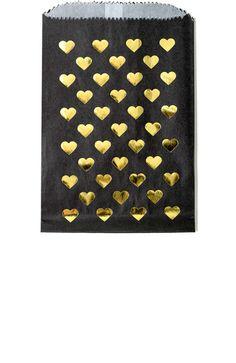 Gold Foil Heart Print Favor Bags in Black