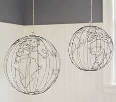 barn kid, potteri barn, wire hang, globes, map, barns, kids, hang globe, pottery barn