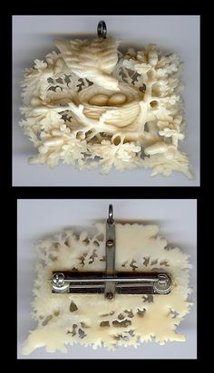 Victorian finely carved ivory bird with nest brooch