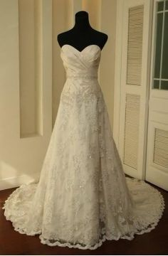 white/Ivory Lace Train Bridal Gown Wedding Dresses Free  by VEIL8, $129.00
