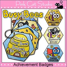 Busy Bees Achievement Badges achiev badg, bee theme, busi bee, bee achiev