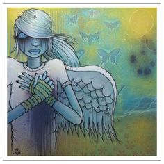"""Even Angels Fall - Original 24"""" x 24"""" Painting"""