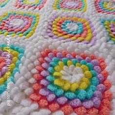 Crochet Blanket Floral Yummy 3D flower Granny Square by Sol Maldonado