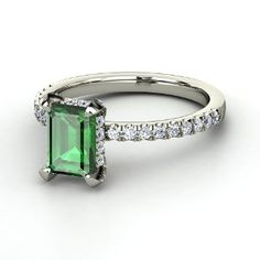 Reese Ring, Emerald-Cut Emerald 18K White Gold Ring with Diamond from Gemvara