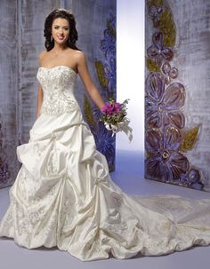 Strapless A-line satin bridal gown