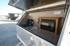 Featherlite outside kitchen on horse trailer