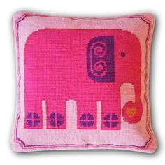 girl room, accent pillows, girl nurseries, kid rooms, throw pillows, needlepoint pillow, cross stitches, pink elephants, jonathan adler