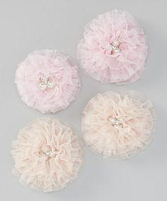 Look what I found on #zulily! Pink & Beige Tulle Flower Hair Clip Set #zulilyfinds