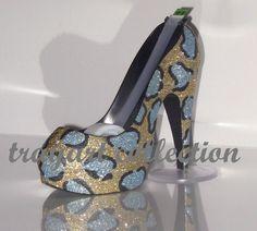 Blue Leopard High Heel Stiletto Platform Shoe TAPE DISPENSER Office Supplies - trayart collection. $29.50, via Etsy.