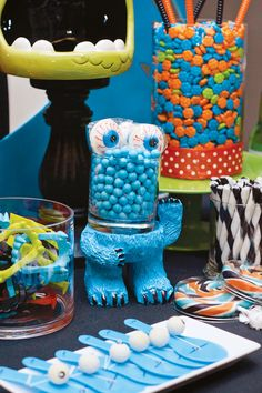 Silly & SCARY Monster Halloween Bash - look at the paddle ball set, the straws, and the colorful teeth.  Some cute ideas for treat bags maybe depending on price.