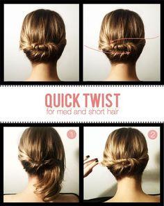 shorter hair, hair tutorials, quick twist, short hair styles, long hair, beauti, hairstyl, updo, curly hair