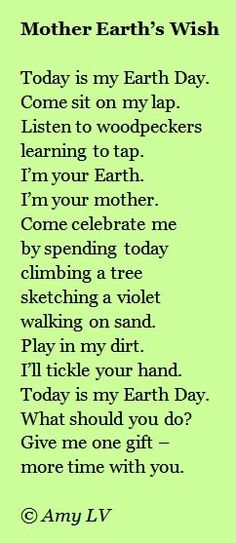A Poem for Earth Day - from The Poem Farm, Amy Ludwig VanDerwater's ad-free, searchable blog full of hundreds of poems, poem mini lessons, and poetry ideas for home and classroom - www.poemfarm.amylv.com