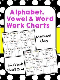 Free Alphabet, Vowel and Word Work Charts ~ A Natural Extension of Basic Linking Charts.