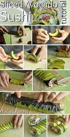 Sliced avocado sushi
