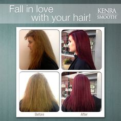 Eliminate up to 99% of curl and frizz with Kenra Smooth®, then immediately change up your Kenra Color® for fall!  Filled with Kenra Color Pre-Pigments: 1/2 Copper + 1/2 Red Retouch: 6RR + 20 Vol. Ends: 6RR Demi + 9 Vol.