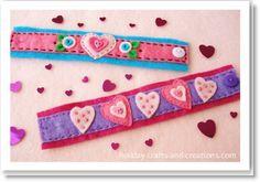 valentine bracelet valentine crafts, valentine day crafts, felt crafts, bracelets, felt pattern, craft ideas, felt bracelet, kid craft, felt heart