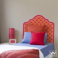 Modern Pink Orange Polka Dot Headboard for Bed Bedroom Dorm Decor for Teens Kids Girls Boys