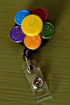 medication cap flower badge holder