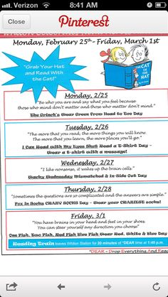 Read Across America newsletter - I love the Dr. Seuss quote to go with the theme each day!