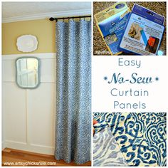 Easy, No Sew Curtain Panels - Artsy Chicks Rule #nosew