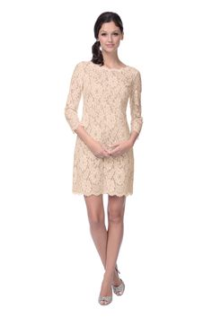 The color of this dress is called 'Champagne Toast'. So fitting!! Love that its lace and has sleeves too. Really pretty - new for Fall 2014