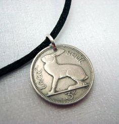 Irish jewelry - coin jewelry - Ireland Three Pence COIN NECKLACE pendant, Irish hare and harp - Year of the Rabbit