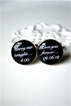 White Truffle Studio — Marry me tonight / love you forever custom date cufflinks style # 090