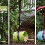 DIY Bird feeders craft kids, ribbons, bird feeders, kid projects, diy bird, recycled crafts, birds, craft ideas, soup cans