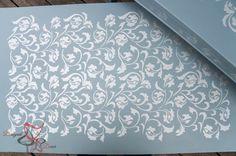 Stenciling Accent Tables via Designed Decor | Allover Scroll Stencil |  Royal Design Studio