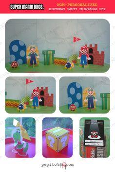 PrintINK Super Mario Bros. Party Set  by PepitosRoom on Etsy, $25.00