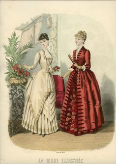 The red dress is beautifully simple - I particularly like the rich brocade underskirt showing at the front and hem. La Mode Illustree, 1885
