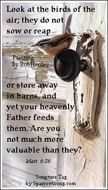 Matthew 6:26   Behold the fowls of the air:  for they sow not,  neither do they reap,  nor gather into barns;  yet your HEAVENLY  FATHER  feedeth them. Are ye not much better than they?