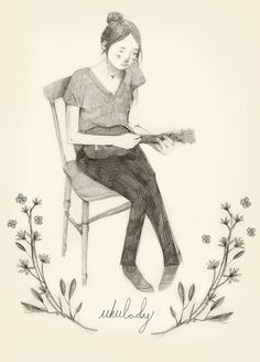 Ukulady by Clare Owen, pencil sketch, girl, drawing, illustration