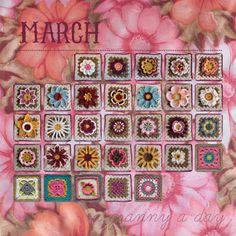 Love this idea of sampler granny squares arranged as days of the month. Crochet a square a day.