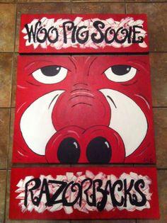 three piec, pig sooie, hog paintings, woo pig